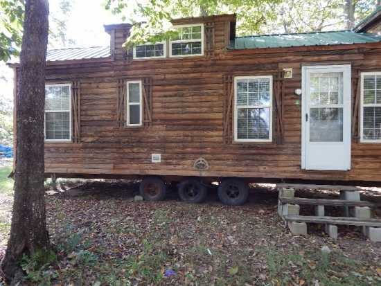 Rustic log Tiny home 450 sq ft on wheels